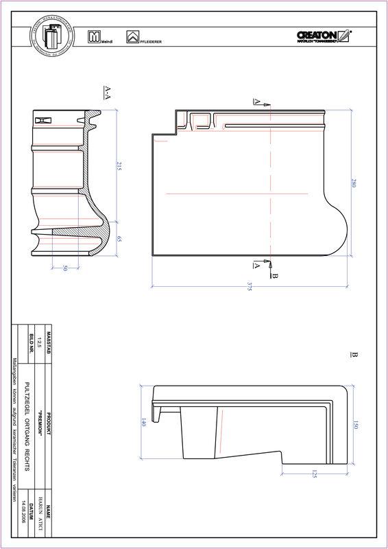CAD файл черепиці PREMION черепиця бічна права для односхилого даху PULTOGR