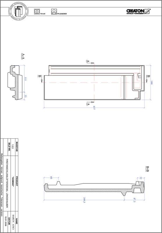 CAD файл черепиці DOMINO половинчаста черепиця  гребенева вентиляційна FALLH