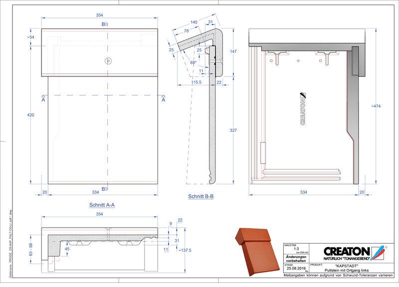 CAD файл черепиці KAPSTADT черепиця бічна ліва для односхилого даху PultOGL