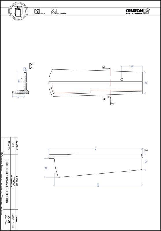 CAD файл черепиці PROFIL сегментна форма KERA-SAECHS-18-CM-OGR