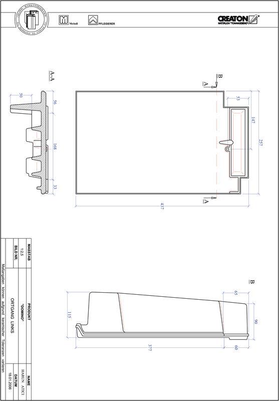 CAD файл черепиці DOMINO черепиця бічна ліва OGL