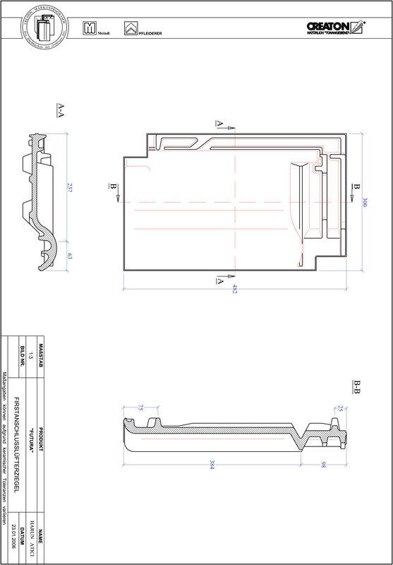 CAD файл черепиці FUTURA черепиця  гребенева вентиляційна FALZ