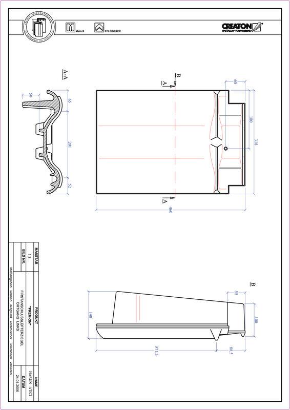 CAD файл черепиці PREMION черепиця  гребенева вентиляційна бічна ліва FALOGL