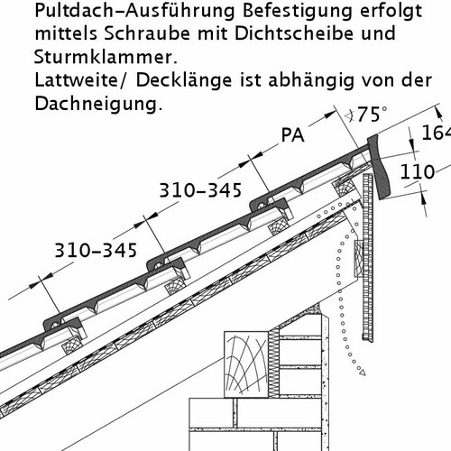 Технічне креслення черепиці HEIDELBERG PDA PROFILIERTE-BDS