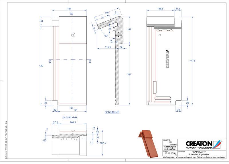 CAD файл черепиці KAPSTADT черепиця для односхилого даху Pult-halb