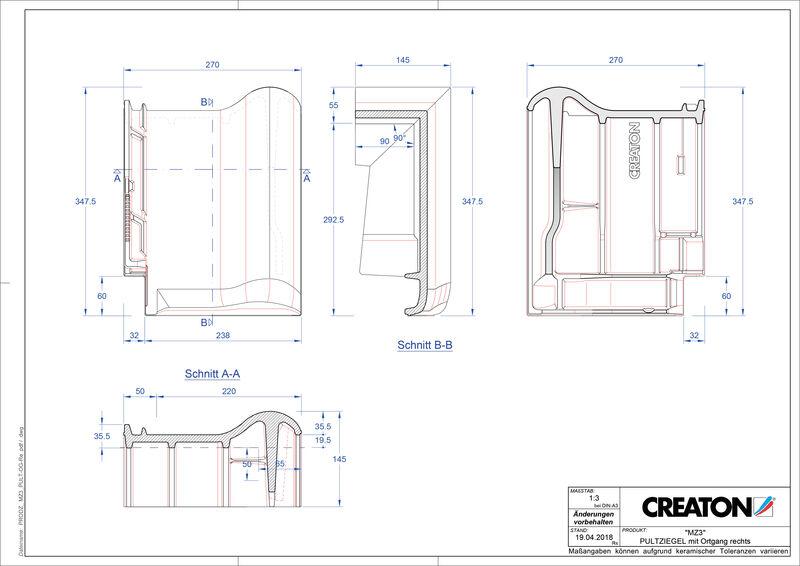 CAD файл черепиці MZ3 NEU черепиця бічна права для односхилого даху PULTOGR