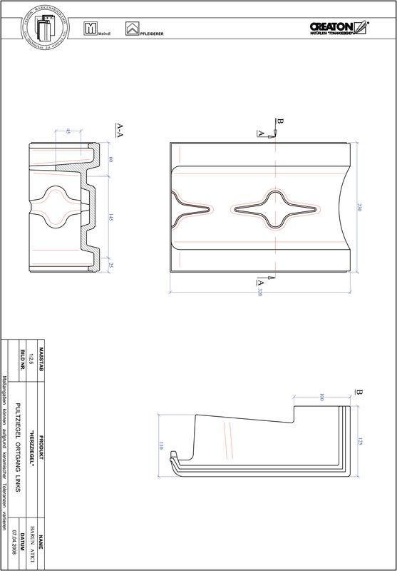 CAD файл черепиці HERZZIEGEL черепиця бічна ліва для односхилого даху PULTOGL