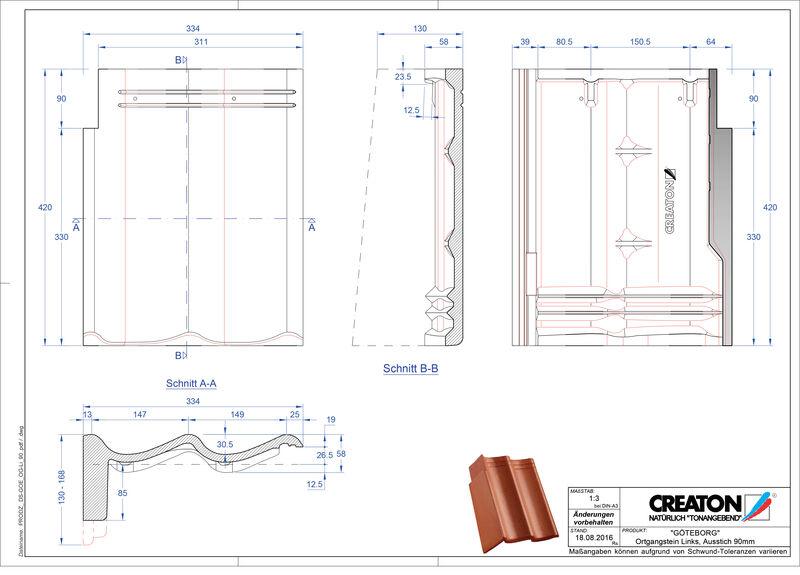 CAD файл черепиці GÖTEBORG черепиця бічна ліва для односхилого даху PultOGL-90