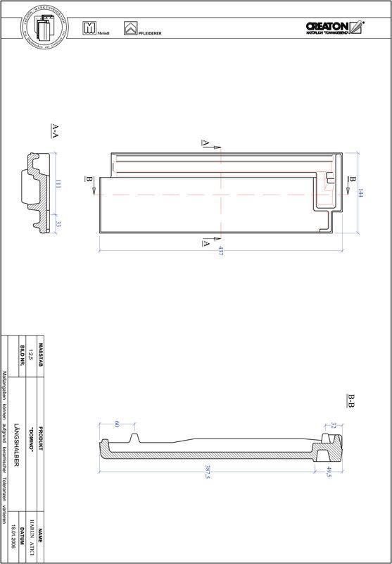CAD файл черепиці DOMINO половинчаста черепиця LH