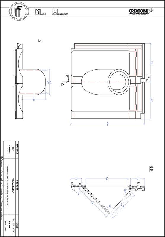 CAD файл черепиці HERZZIEGEL наскрізна черепиця для газових димоходів THERME
