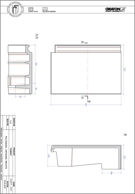 CAD файл черепиці DOMINO черепиця бічна права для односхилого даху PULTOGR