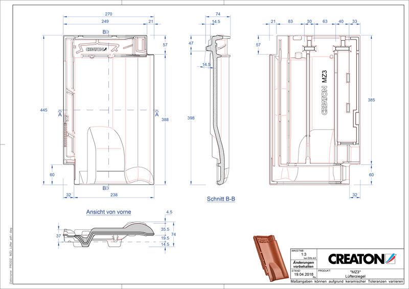 CAD файл черепиці MZ3 NEU вентиляційна черепиця LUEFTZ