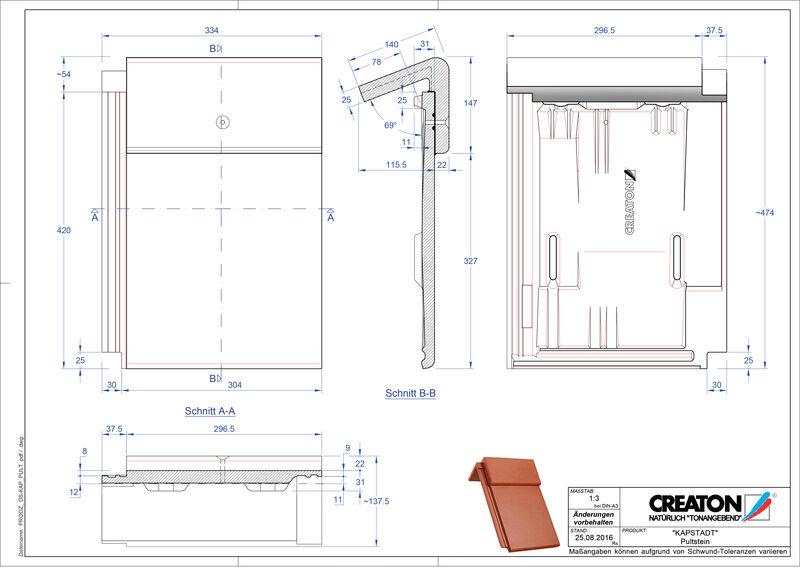 CAD файл черепиці KAPSTADT черепиця для односхилого даху PULTSTEIN
