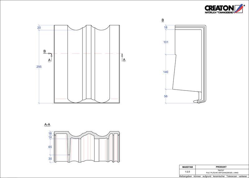 CAD файл черепиці RATIO черепиця бічна ліва для односхилого даху PULTOGL