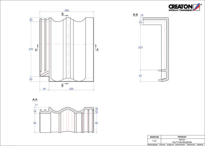 CAD файл черепиці RATIO покрівельна черепиця для односхилого даху PULTFLA