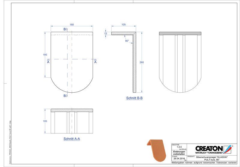 CAD файл черепиці KLASSIK напівкругла форма RUND-PULT-kurz