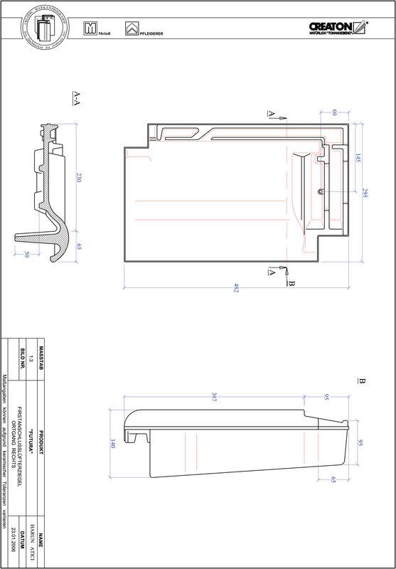 CAD файл черепиці FUTURA черепиця  гребенева вентиляційна бічна права FALOGR