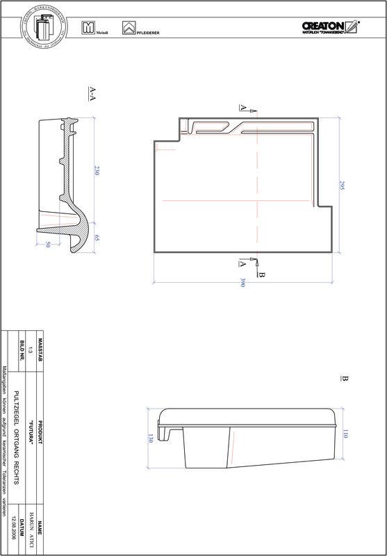 CAD файл черепиці FUTURA черепиця бічна права для односхилого даху PULTOGR