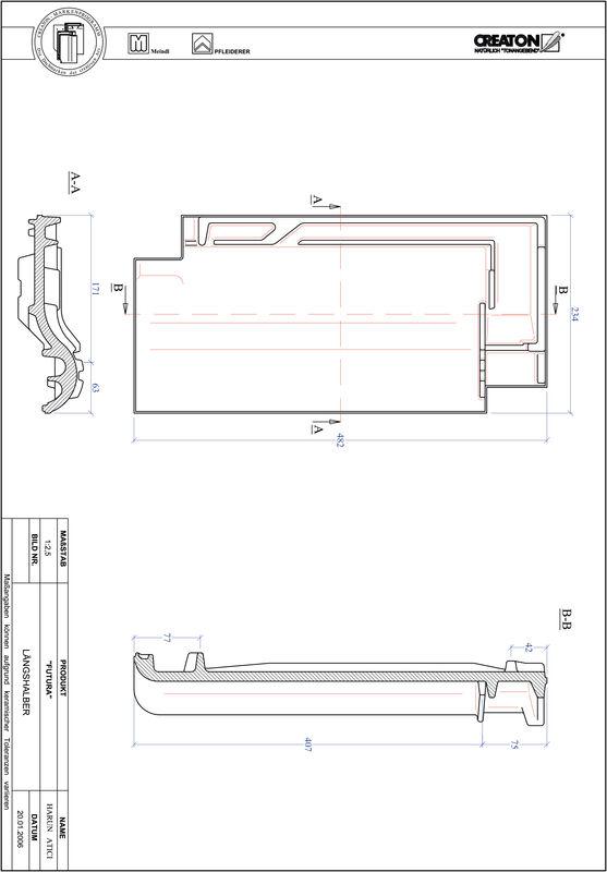 CAD файл черепиці FUTURA половинчаста черепиця LH