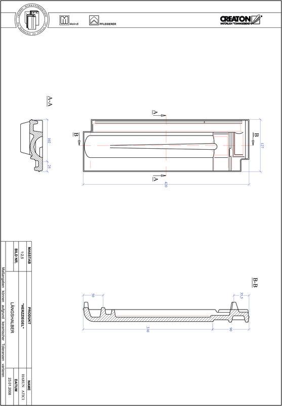 CAD файл черепиці HERZZIEGEL половинчаста черепиця LH