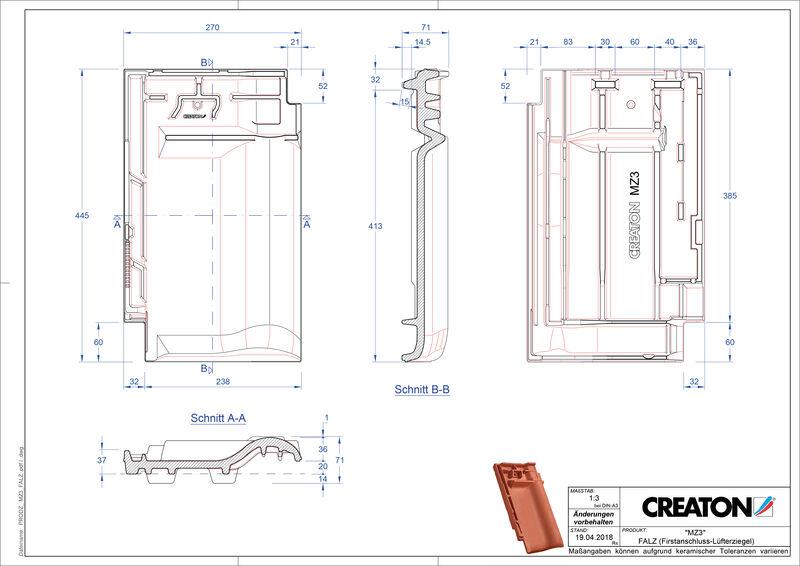 CAD файл черепиці MZ3 NEU черепиця  гребенева вентиляційна FALZ