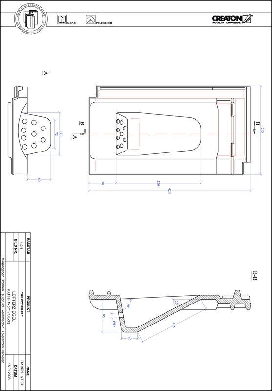 CAD файл черепиці HERZZIEGEL вентиляційна черепиця LUEFTZ