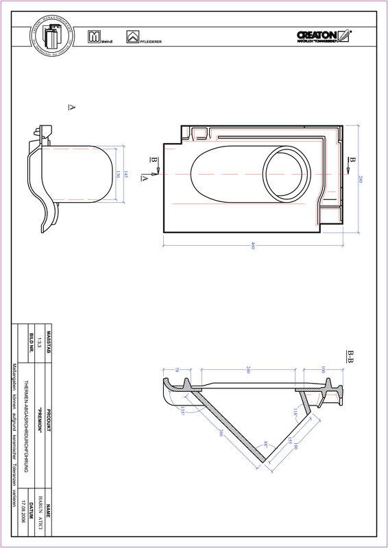 CAD файл черепиці PREMION наскрізна черепиця для газових димоходів THERME