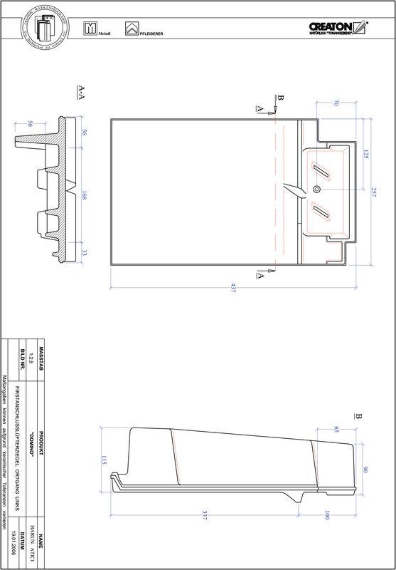 CAD файл черепиці DOMINO черепиця  гребенева вентиляційна бічна ліва FALOGL