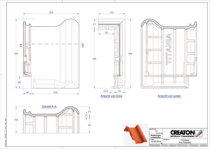 CAD файл черепиці TITANIA черепиця для односхилого даху PULT