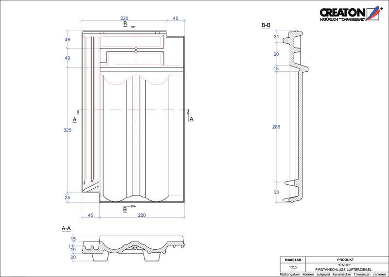 CAD файл черепиці RATIO черепиця  гребенева вентиляційна FALZ