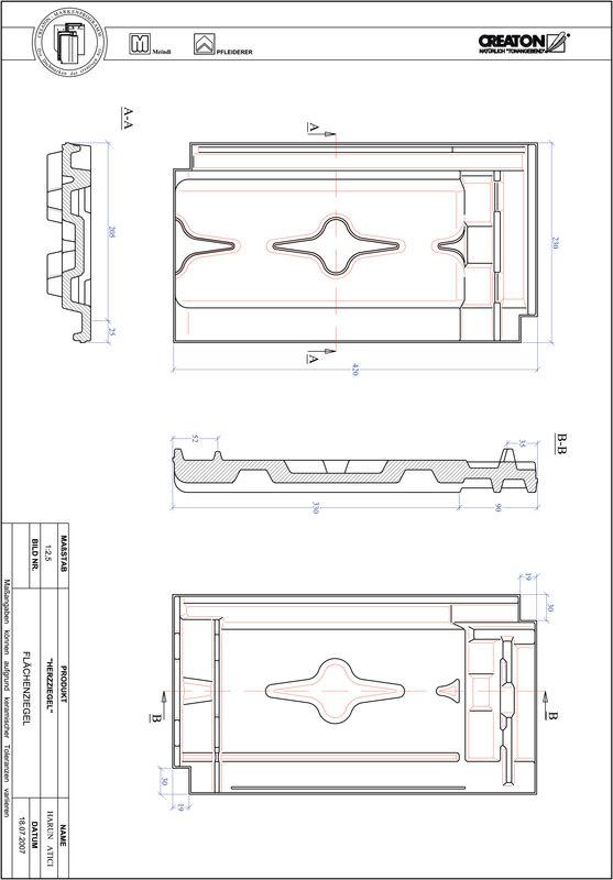 CAD файл черепиці HERZZIEGEL покрівельна черепиця FLA