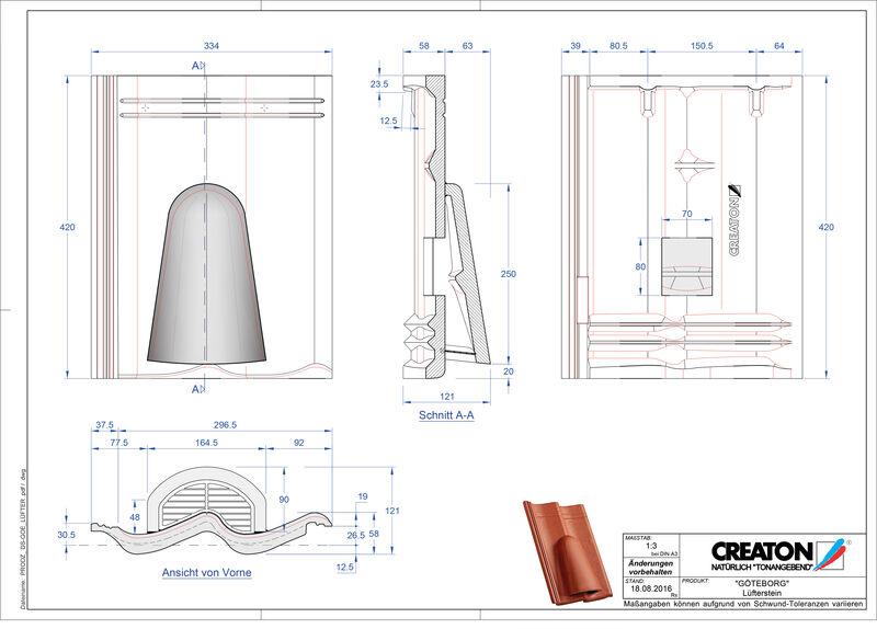 CAD файл черепиці GÖTEBORG вентиляційна черепиця Luefterstein