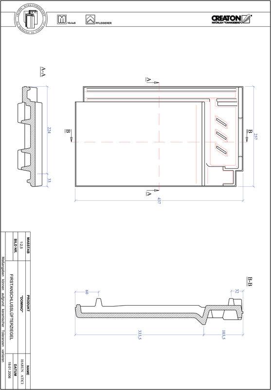 CAD файл черепиці DOMINO черепиця  гребенева вентиляційна FALZ