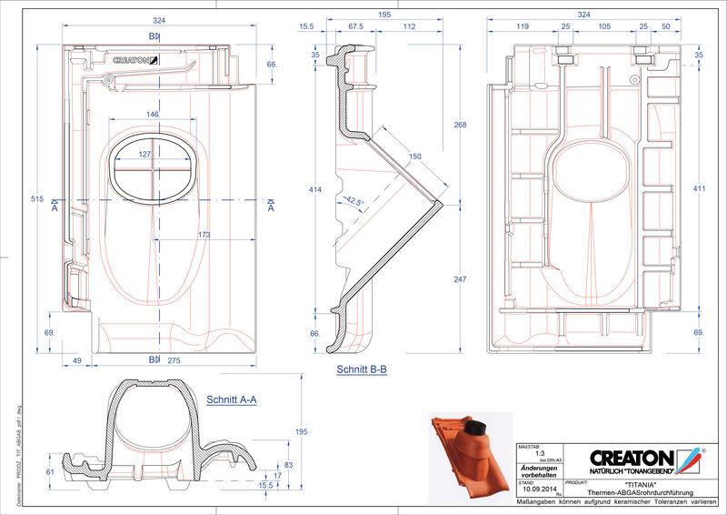 CAD файл черепиці TITANIA наскрізна черепиця для газових димоходів THERME