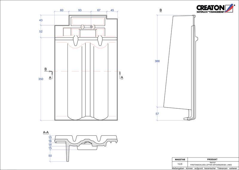 CAD файл черепиці RATIO черепиця  гребенева вентиляційна бічна ліва FALOGL
