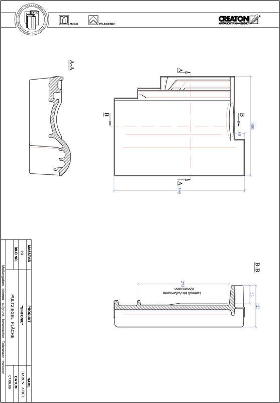 CAD файл черепиці SINFONIE покрівельна черепиця для односхилого даху PULTFLA