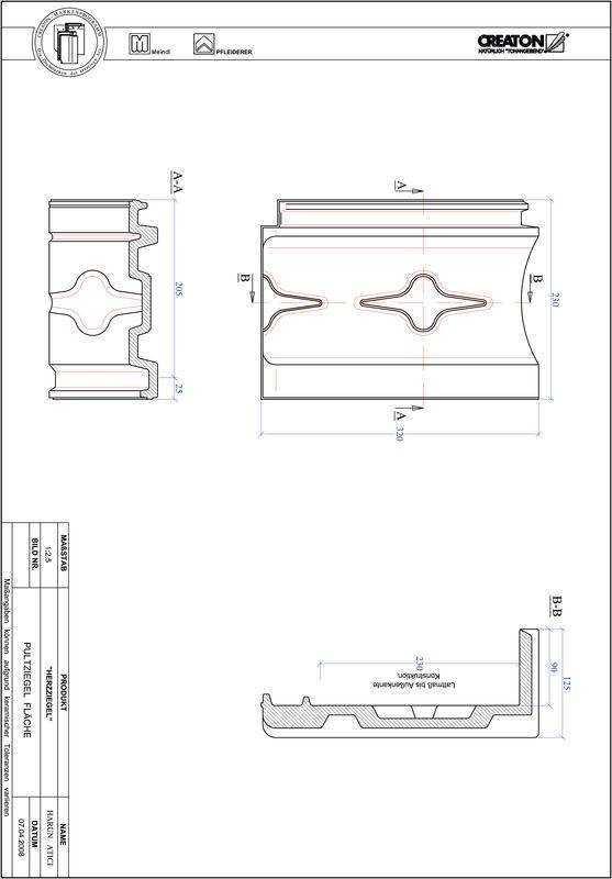CAD файл черепиці HERZZIEGEL покрівельна черепиця для односхилого даху PULTFLA