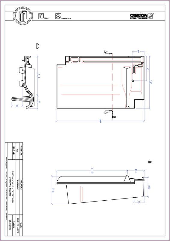 CAD файл черепиці PREMION черепиця  гребенева вентиляційна бічна права FALOGR