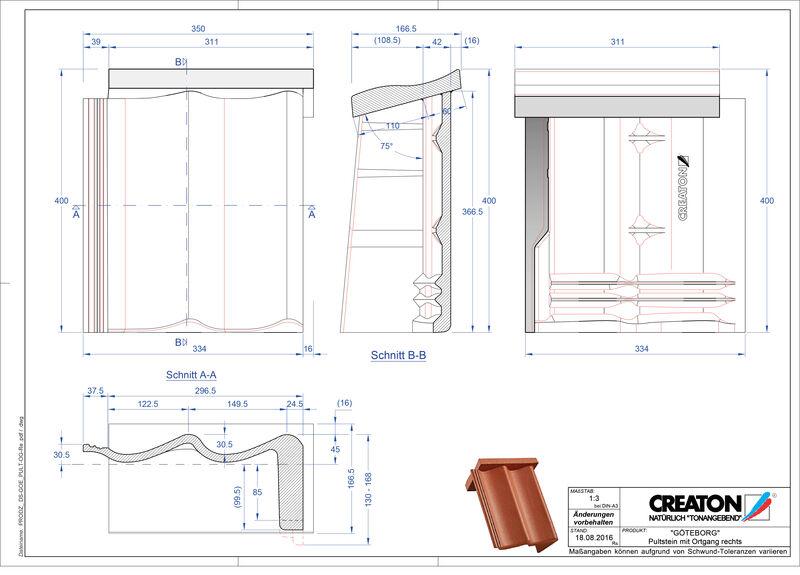 CAD файл черепиці GÖTEBORG черепиця бічна права для односхилого даху PultOGR