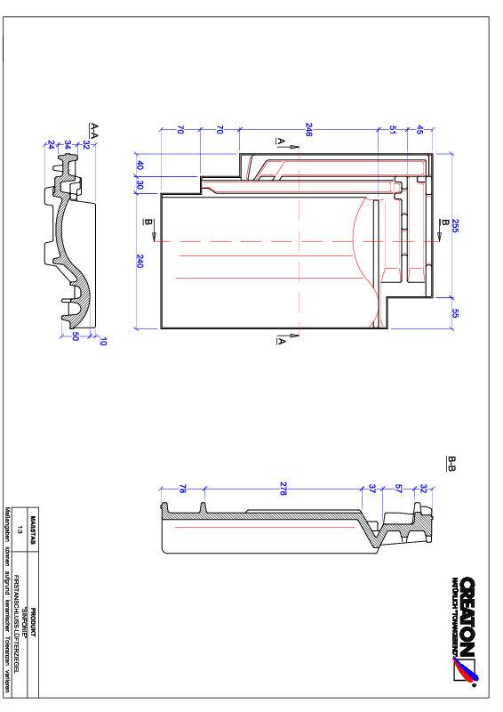 CAD файл черепиці SINFONIE черепиця  гребенева вентиляційна FALZ