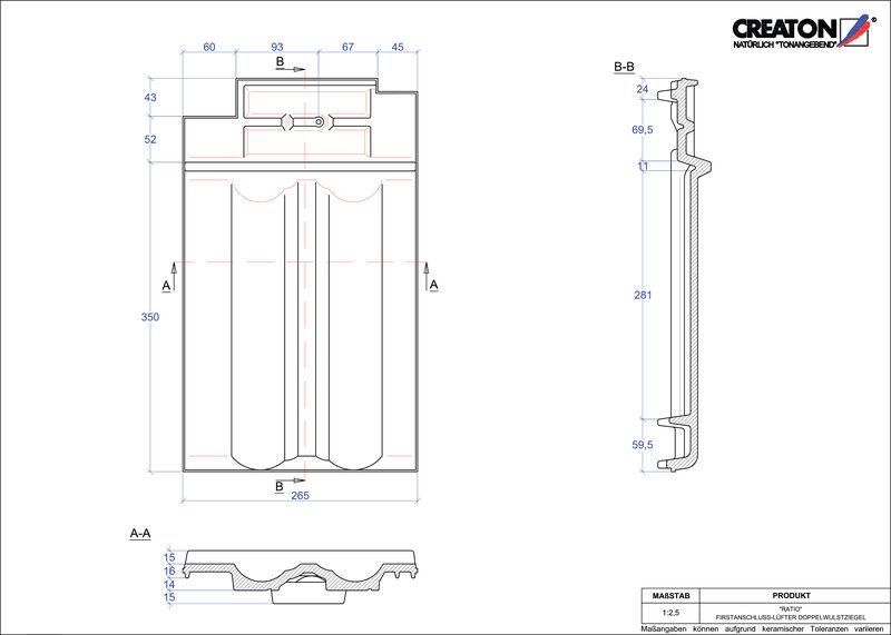 CAD файл черепиці RATIO двохвильова черепиця  гребенева вентиляційна FALDWZ