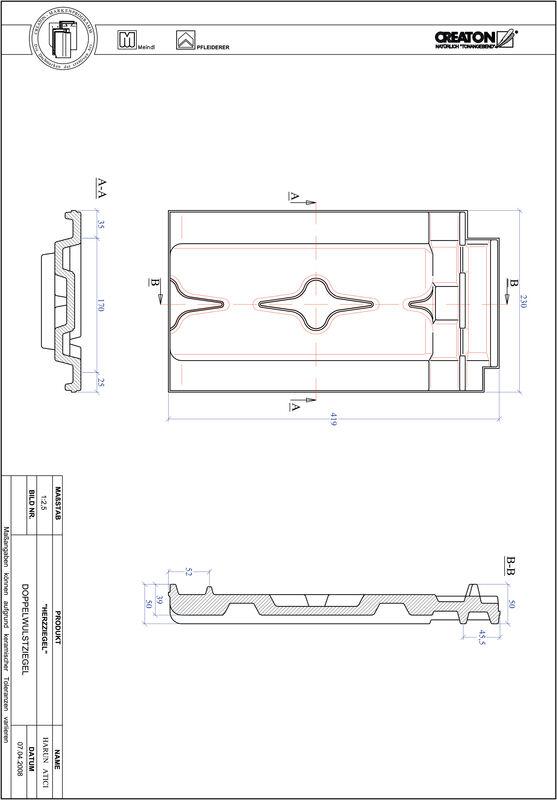 CAD файл черепиці HERZZIEGEL двохвильова черепиця DWZ