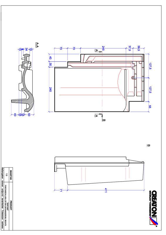 CAD файл черепиці SINFONIE черепиця  гребенева вентиляційна бічна права FALOGR