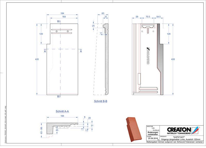 CAD файл черепиці KAPSTADT черепиця бічна ліва OGL-halb-120