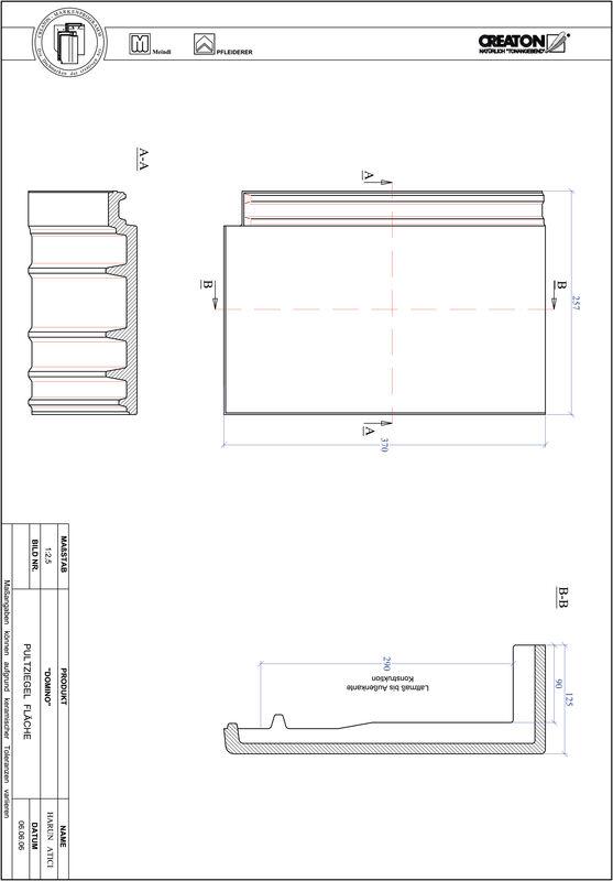 CAD файл черепиці DOMINO покрівельна черепиця для односхилого даху PULTFLA