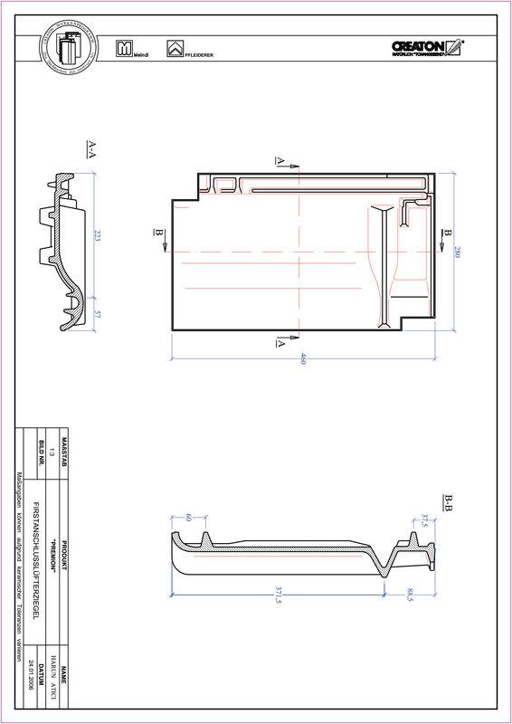 CAD файл черепиці PREMION черепиця  гребенева вентиляційна FALZ