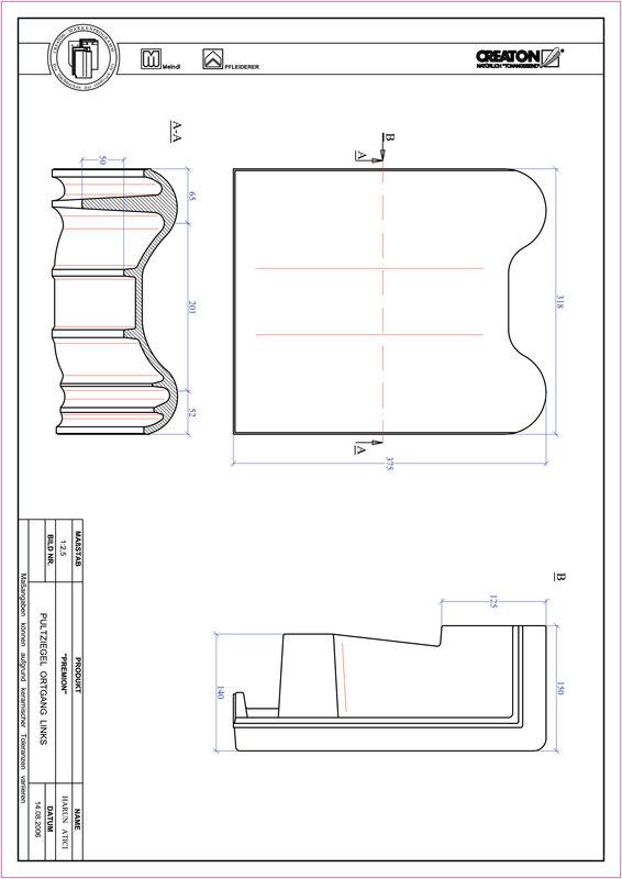 CAD файл черепиці PREMION черепиця бічна ліва для односхилого даху PULTOGL
