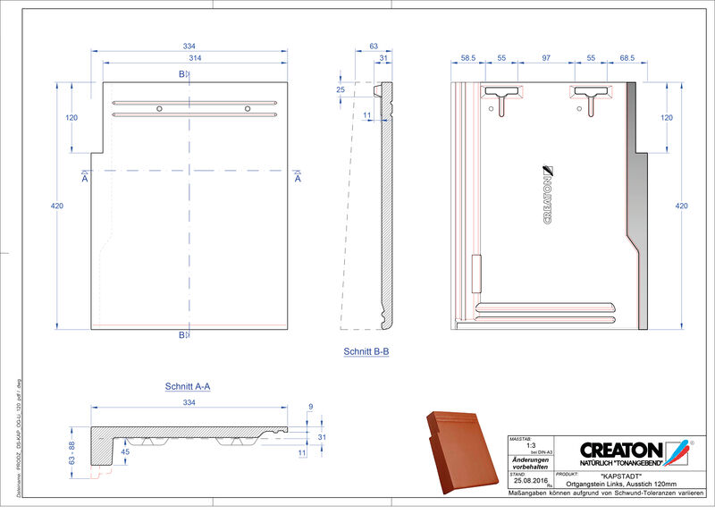CAD файл черепиці KAPSTADT черепиця бічна ліва OGL-120