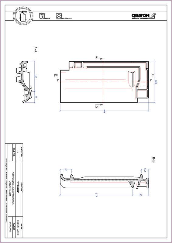 CAD файл черепиці PREMION половинчаста черепиця  гребенева вентиляційна FALLH