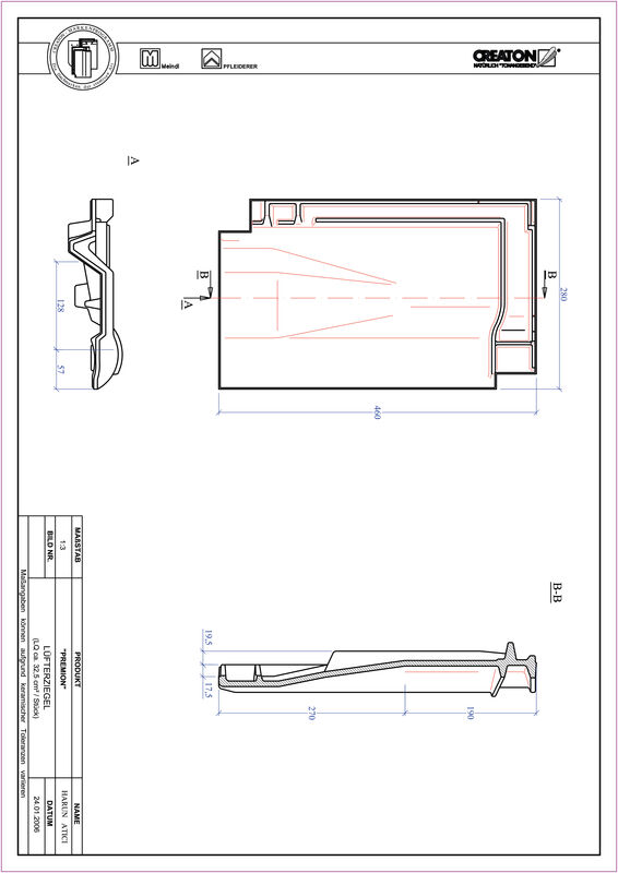 CAD файл черепиці PREMION вентиляційна черепиця LUEFTZ